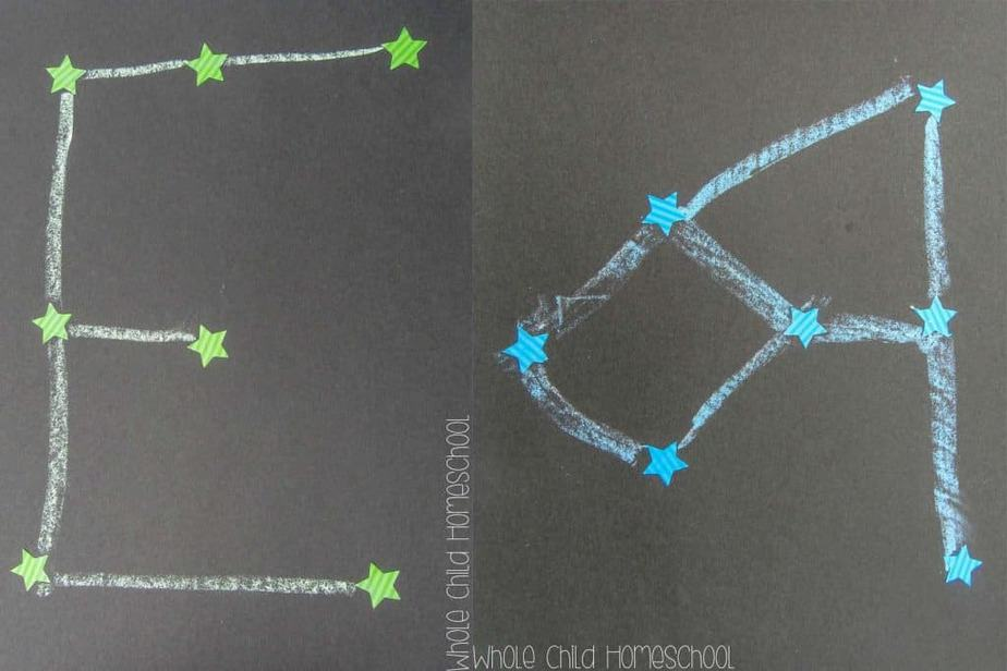 chalk and sticker constellations on black construction paper wholechildhomeschool.com