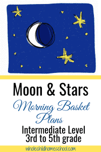 moon and yellow stars on blue background