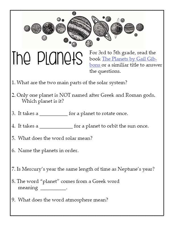 the planets worksheet