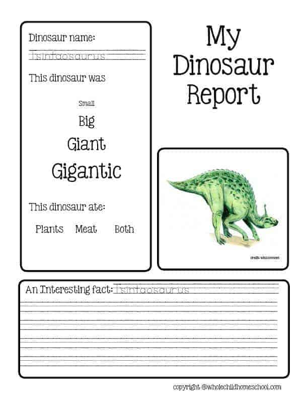 my dinosaur report form for early elementary