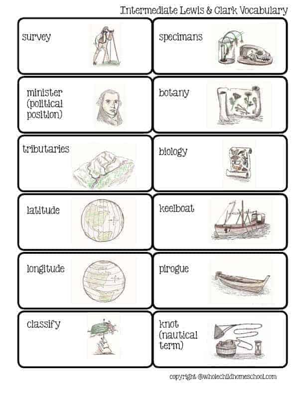 lewis and clark unit study vocabulary homeschool
