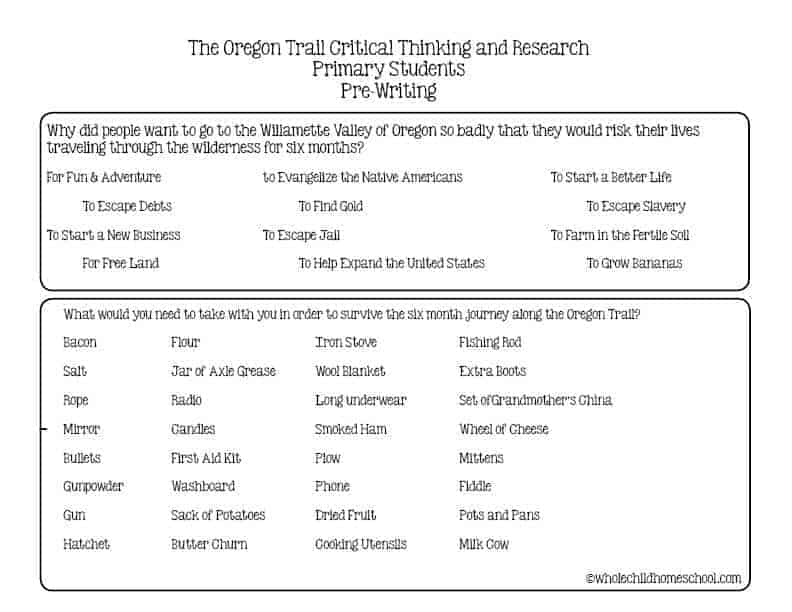 oregon trail writing homeschool