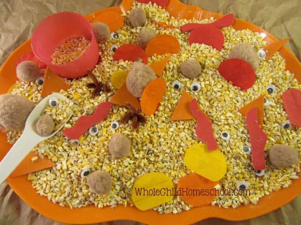 turkey thanksgiving sensory bin