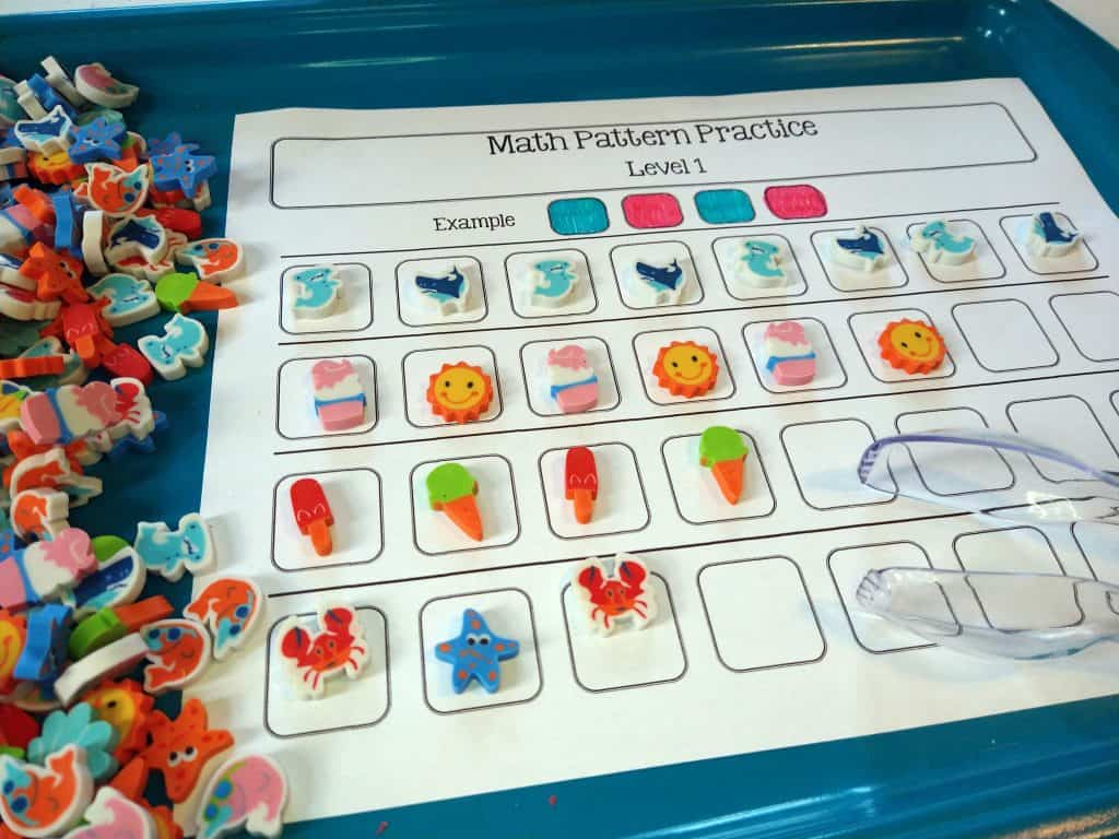 summertime sensory activities math patterning worksheets