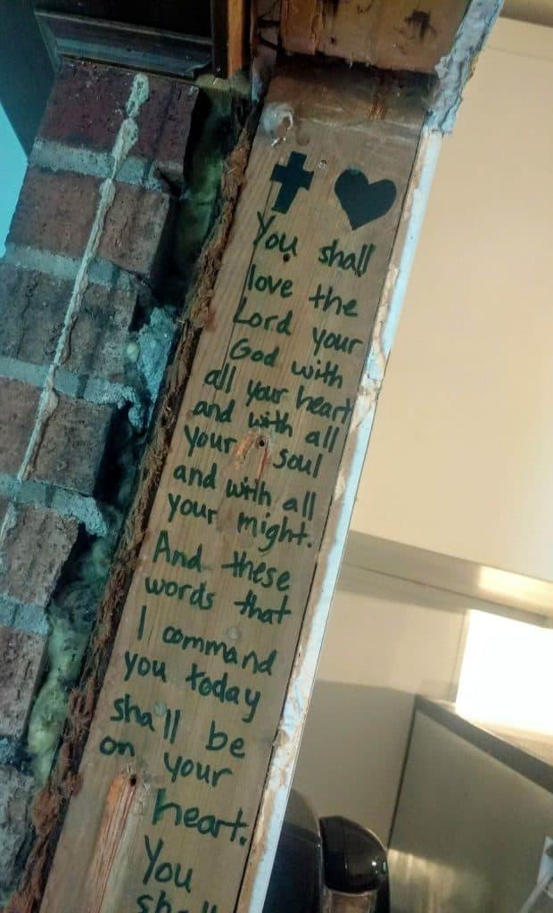 Bible verse on door post