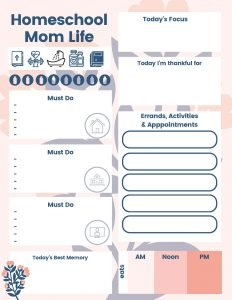 Homeschool Mom Life Daily Planner