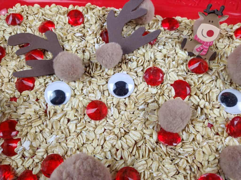 rudolph Christmas sensory bin
